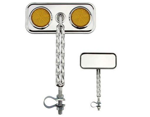Bike Double Twisted Mirror Chrome Amber Reflectors. 193490