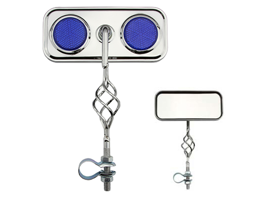 Cage Rectangle Mirror Bicycle Blue Reflectors.