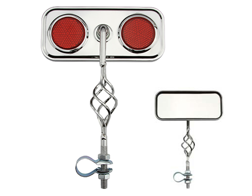 Cage Rectangle Mirror Bicycle Red Reflectors.