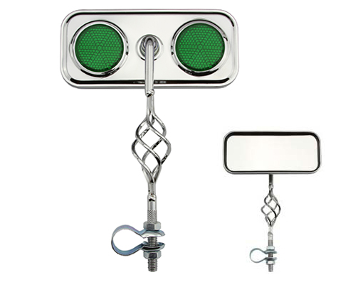 Bike Cage Rectangle Mirror Chrome Green Reflectors. 193522