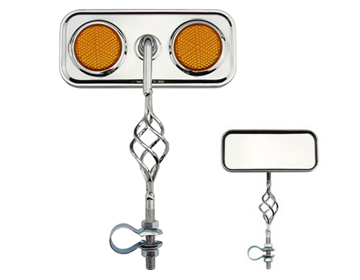 Bike Cage Rectangle Mirror Chrome Amber Reflectors. 193530