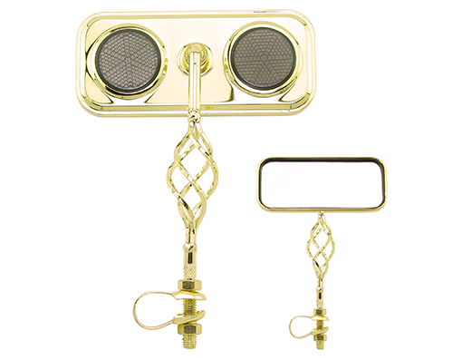 Bike Rectangle Cage Mirror Gold with Black Reflectors 193544