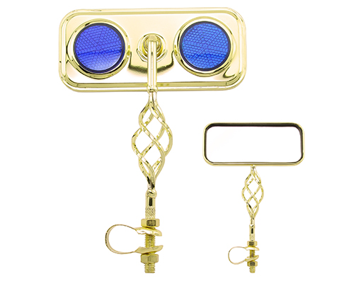 Bike Rectangle Cage Mirror Gold with Blue Reflectors. 193546