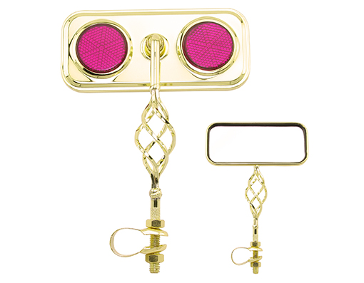 Bike Rectangle Cage Mirror Gold with Purple Reflectors. 193556
