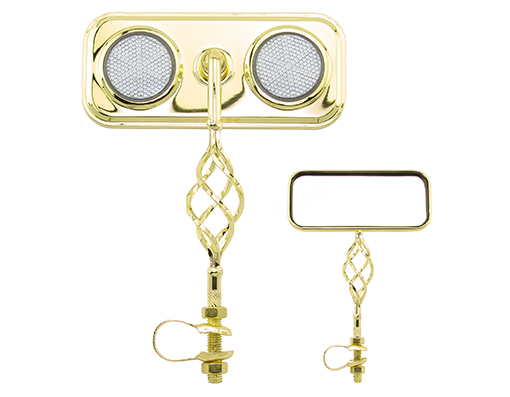 Bike Rectangle Cage Mirror Gold with Clear Reflectors.  193558