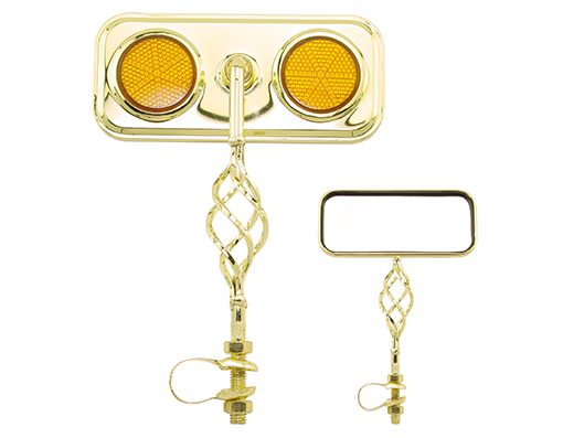 Bike Rectangle Cage Mirror Gold with Amber Reflectors 193559