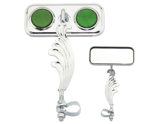 bike Rectangle Wing Mirror Chrome Right Green Reflectors