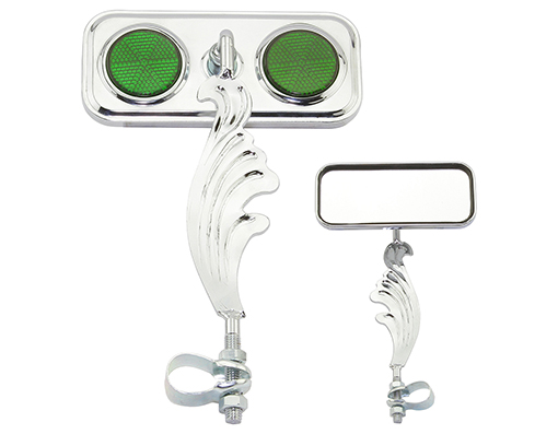 bike Rectangle Wing Mirror Chrome Left Green Reflectors