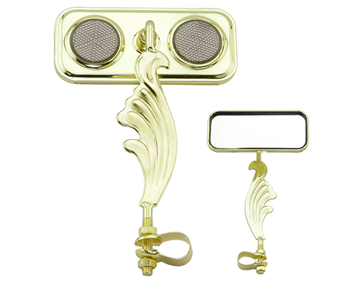 bike Rectangle Wing Mirror Gold Right Black Reflectors