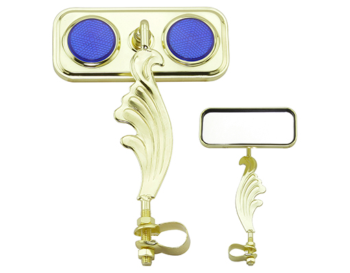 bike Rectangle Wing Mirror Gold Right Blue Reflectors