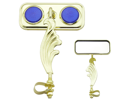 Lowrider Mirror Gold Twisted Oblong Bicycle Mirror /& Blue Reflectors NEW!