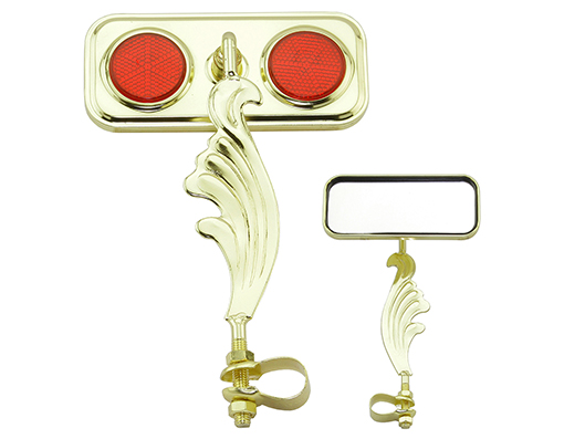 bike Rectangle Wing Mirror Gold Right Red Reflectors