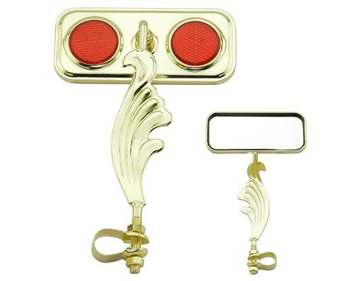 bike Rectangle Wing Mirror Gold Left Red Reflectors