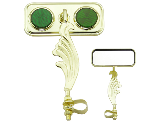 bike Rectangle Wing Mirror Gold Right Green Reflectors