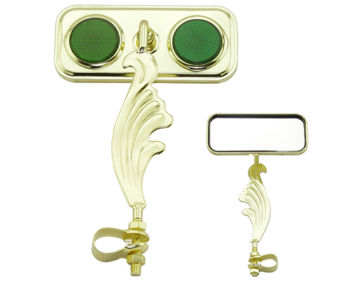 bike Rectangle Wing Mirror Gold Left Green Reflectors