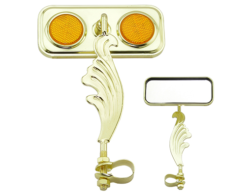 bike Rectangle Wing Mirror Gold Right Amber Reflectors