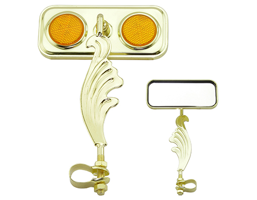 bike Rectangle Wing Mirror Gold Left Amber Reflectors