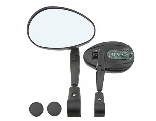 Bike 3D Mirror Handlbar Mount 2200SCF W/Led Flashing Light Black. 193661