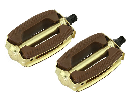 Bike Krate Rubber Pedals 1/2 Brown/Gold. 202615