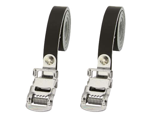 Bicycle Leather Toe Straps Black.