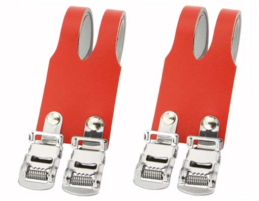Bicycle Leather Double Toe Straps Red.