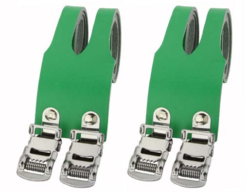 Bicycle Leather Double Toe Straps Green.