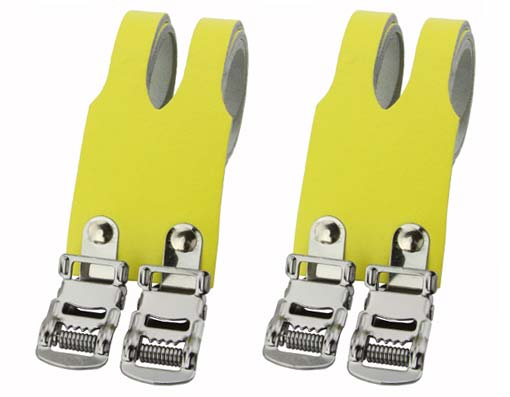 Bicycle Leather Double Toe Straps Yellow.