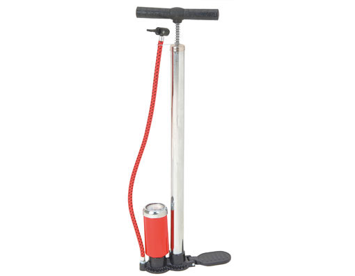 Hand Bicycle Pump W/Gauge Chrome.