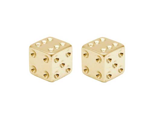 Dice Valve Bicycle Caps Gold.