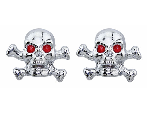 Valve Bicycle Caps Skull W/Bones X Chrome.