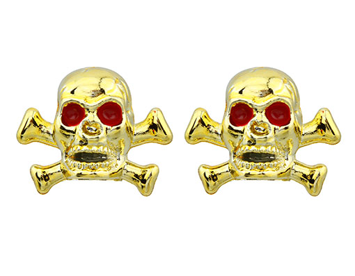 Skull/Bones Valve Bicycle Caps Gold.