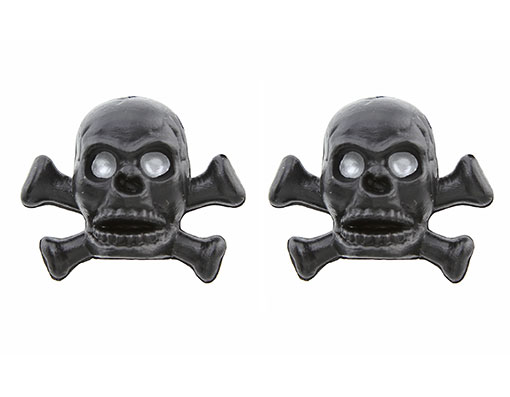 Skull/Bones Valve Bicycle Caps Black.