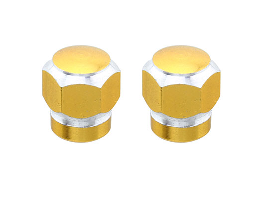 Hex Tow-Tone Valve Bicycle Caps Gold.