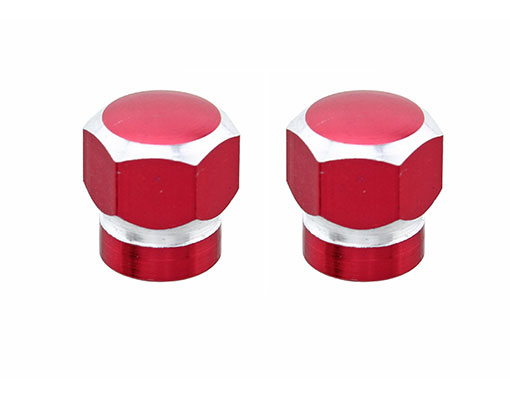 Hex Tow-Tone Valve Bicycle Caps Red.