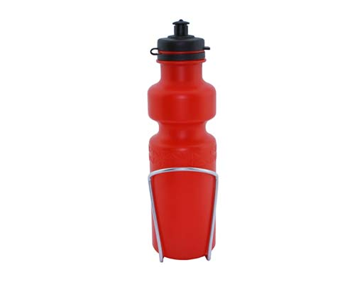 Water Bottle with Alloy Cage 28oz Red.