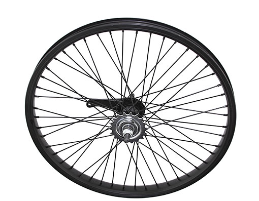 bike 20 x 175 Alloy Coaster Wheel 48 Spoke 14gBlack 3/8 Axle Single Wall Black
