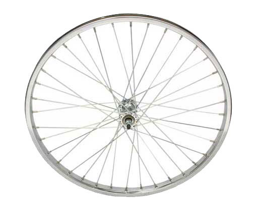 bike 24 x 175 Steel Front Wheel 36 Spoke 12gUCP 3/8 Axle Single Wall Chrome