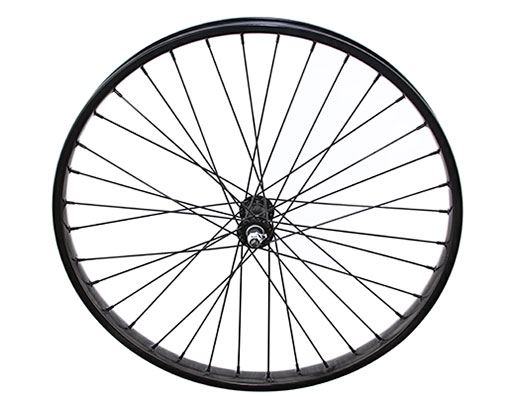 bike 26 x 2125 Steel Front Wheel 36 Spoke 12gBlack 3/8 Axle Single Wall Black