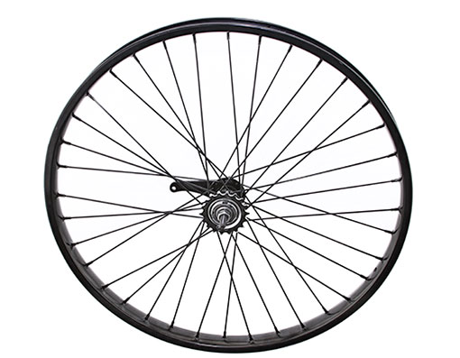 bike 26 x 2125 Steel Coaster Wheel 36 Spoke 12gBlack 3/8 Axle Single Wall Black