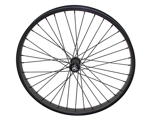 26 x 45mm Alloy Front Wheel 36 Spoke 12gBlack 3/8 Axle Double Wall Black.