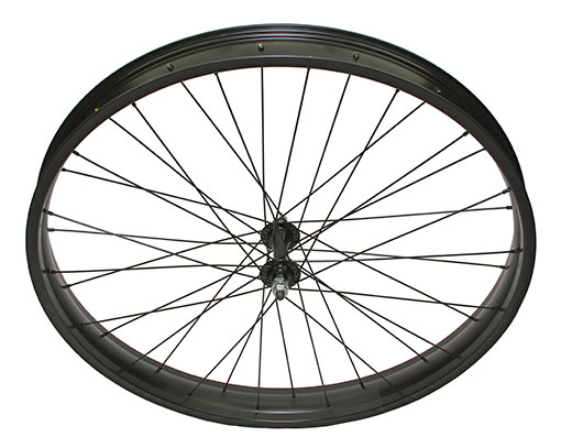 bike 26 x 300 Fat Alloy Front Wheel 36 Spoke 14gBlack 3/8 Axle Single Wall Black