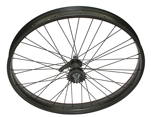bike 26 x 300 Fat Alloy Coaster Wheel 36 Spoke 14gBlack 3/8 Axle Single Wall BlackChrome Sprocket Hub Kits