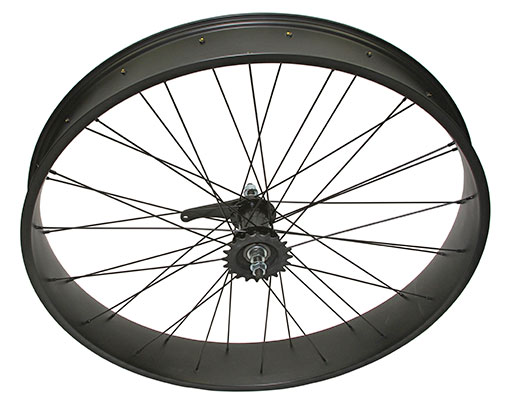 bike 26 x 400 Fat Alloy Coaster Wheel 36 Spoke 14gBlack 3/8 Axle Single Wall BlackChrome Sprocket Hub Kits