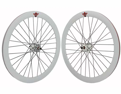 700c V 51mm  Alloy Wheel Set  White.