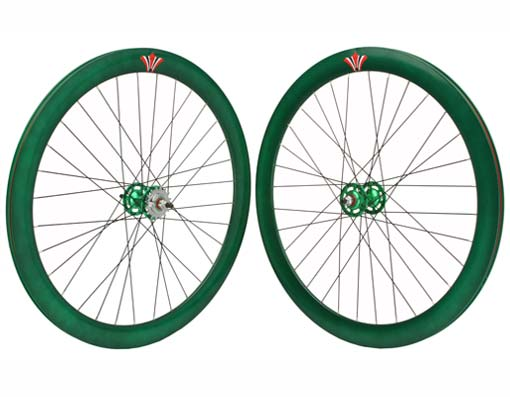 700c V 51mm  Alloy Wheel Set   Green.