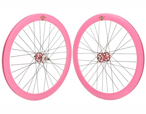 700c V 51mm   Alloy Wheel Set  Pink.
