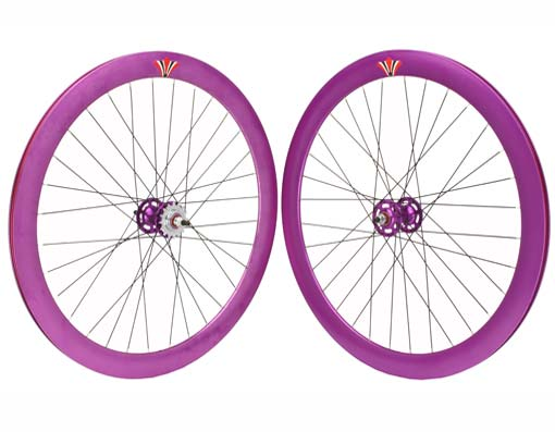 700c V 51mm   Alloy Wheel Set Purple.