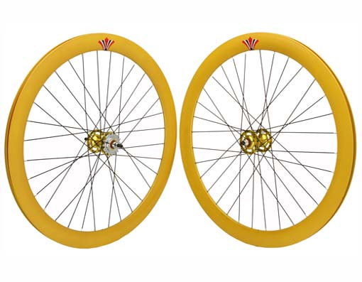 700c V 51mm Alloy Wheel Set  Yellow.