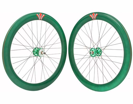 700c V 60mm  Alloy Wheel Set  Green.