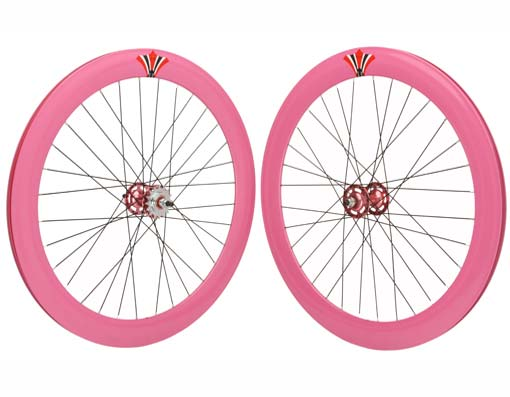 700c V 60mm Alloy Wheel Set  Pink.